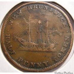 monnaie monde canadum victoria half penny 1843 new brunswick