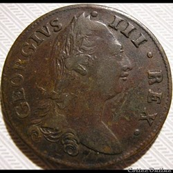 1782 Half Penny, Hibernia - George III of Great Britain