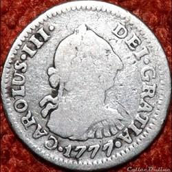 México - 1/2 Real 1777/6 FM - Carlos III...