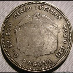 monnaie monde colombie colombia 5 decimos 1868 bogota