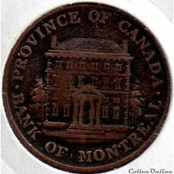 Montreal 1842 HalfPenny - Token Bank - Canadian Provinces