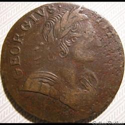 1775 Half Penny No Regal - George III of Great Britain (Ex.7)