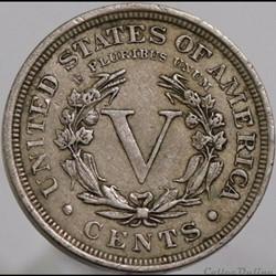 monnaie monde etat uni 1902 5 cents ex 3
