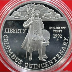 monnaie monde etat uni columbus quincentenary 1492 1992 one dollar 1992 p