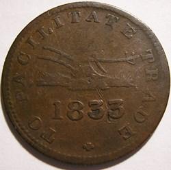 Upper Canada 1833 HalfPenny - Sloop Toke...