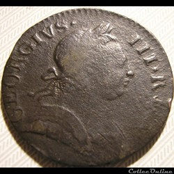 1773 Half Penny No Regal - George III of Great Britain