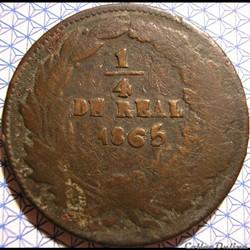 México - 1/4 Real 1865 Estado Chihuahua-...