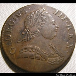 1775 Half Penny No Regal - George III of Great Britain (Ex.6)