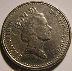 Elizabeth II - 5 Pence 1991 - UK