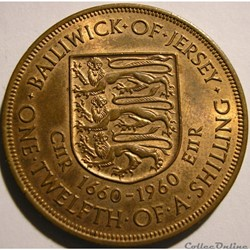 States of Jersey - 1/12 Shilling 1660-19...