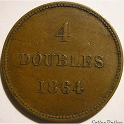 States of Guernsey - 4 Doubles 1864 (ex....