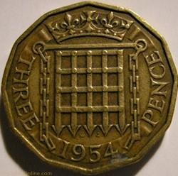 Elizabeth II - 3 Pence 1954 - UK