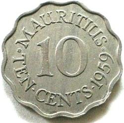 Elizabeth II - 10 Cents 1959 - Mauritius