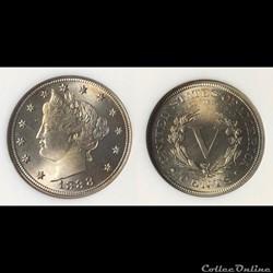 1888 Liberty Head Nickel PF65 Obv die fl...