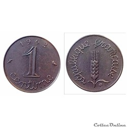 1 centime 1962 à rebord