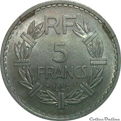 5 francs 1948 B au 9 ouvert en MS62