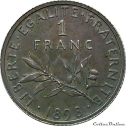 1 franc 1898 flan mat en MS63