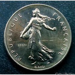 """1 franc 1959 essai """"Haut Relief"""" en MS65"""