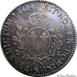 Ecu 1774 N à la vieille tête et coin cho...