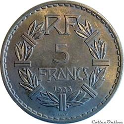 5 francs 1933 ESSAI concours