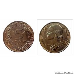 5 centime 1993 à 4 plis