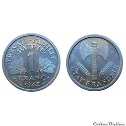 1 franc 1942 pré série aux croix
