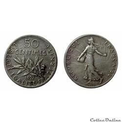 50 centimes 1897 flan mat