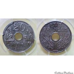 20 centimes 1944 fer MS62