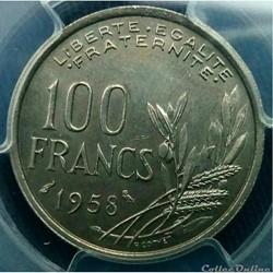 100 francs 1958 Chouette en MS65