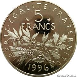 5 francs 1996 BE à tranche striée en MS6...