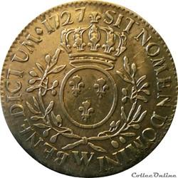Ecu 1727 W aux branches d'olivier et 7 s...