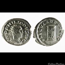 Philip I, AR Antoninianus: SAECVLARES AVGG (Column)
