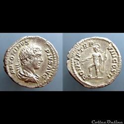Caracalla, AR Denarius: PONTIF TR P VIII...