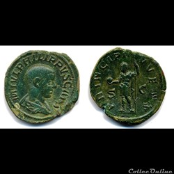 Philip II Caesar, AE Sestertius: PRINCIPI IVVENT