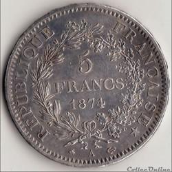 5 FRANCS HERCULE 1874 A