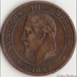 10 centimes Napoléon III tête laurée 186...