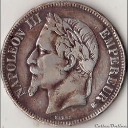 5 francs Napoléon III tête laurée- Empir...