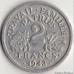 2 FRANCS FRANCISQUE 1944