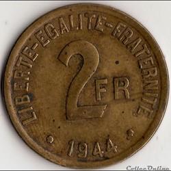 """2 FRANCS """"FRANCE LIBRE"""" 1944"""