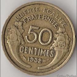 50 CENTIMES MORLON 1932 9 et 2 fermés, s...