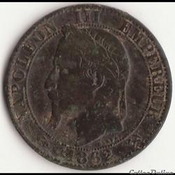 5 centimes Napoléon III tête laurée 1862...