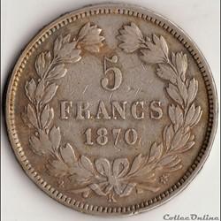 5 FRANCS CÉRÈ, sans légende 1870 K, Etoi...