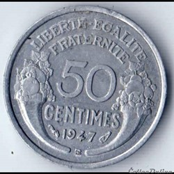 50 CENTIMES MORLON alu 1947 B