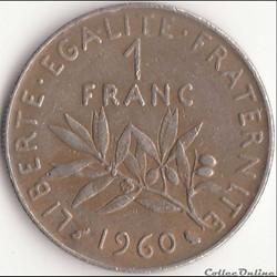 1 FRANC SEMEUSE 1960 (et petite étude pe...