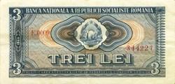 3 lei 1966 Pick 92a Roumanie