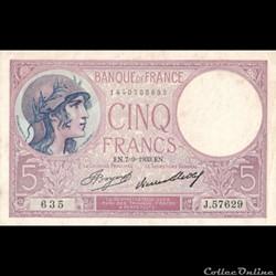 5 Francs Violet - Type 1917
