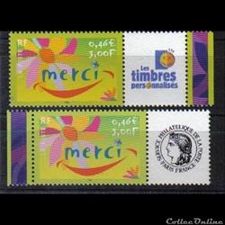 05 timbres de message  MERCI    2001