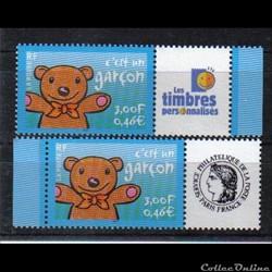 03 timbres pour naissances c,est un garç...