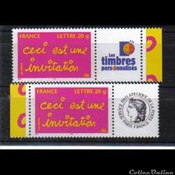 38 timbres personnalisés No 3760 A  de 2...