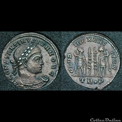 Nummus Constantin II GLOR IA EXERC ITVS